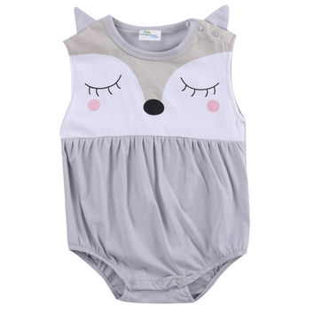 Cartoon Baby Boy Girls Infant Fox Romper Jumpsuit Sleeveelss Summer Outfit 0-24M