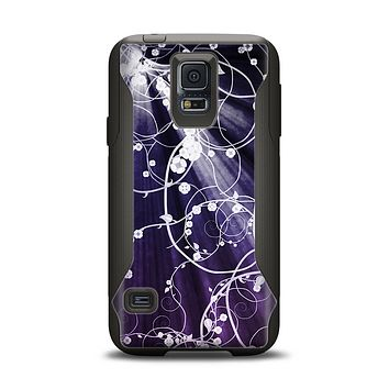 The Dark Purple Light Arrays with Glowing Vines Samsung Galaxy S5 Otterbox Commuter Case Skin Set