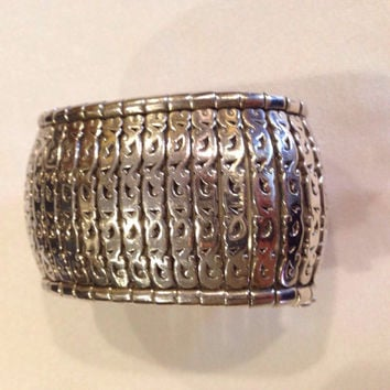 Lois Hill Sterling Silver Bracelet Cuff Hand Crafted Heavy 143 grams