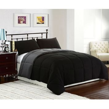 King size 3-Piece Black Grey Microfiber Comforter Set with 2 Shams