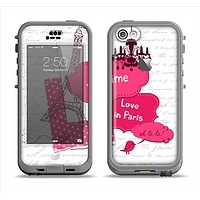 The Paris Pink Illustration Apple iPhone 5c LifeProof Nuud Case Skin Set