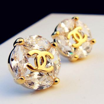 Chanel superflash luxury atmosphere micro - set zircon stone set with simple earring temperament lovely extremely simple diamond earrings