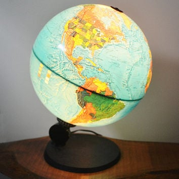 Rare 1972 Illuminated Scan Globe A/S Demark Edition 1983, Vintage Lighted Globe, Tabletop World Globe