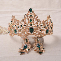 2017 New Fashion Baroque Magnificent Red Crystal Bridal Tiaras Green Wedding Crown for Bride Pageant Wedding Hair Accessories