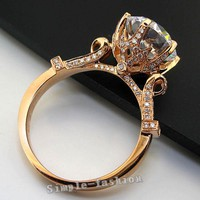 Luxury Jewelry Rose Gold Round cut 2ct Stone AAAAA zircon cz 925 Sterling Silver Engagement Wedding Band Ring for women