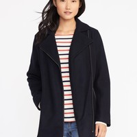 Long Wool-Blend Moto Jacket for Women | Old Navy