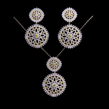 Famous Brand Jewellery 18K Real Gold Plated Luxury Jewelry Sets Yellow Cubic Zirconia Diamond Necklace And Earrings Sets