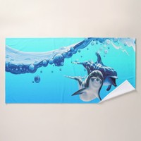 dolphins with wave bath towel