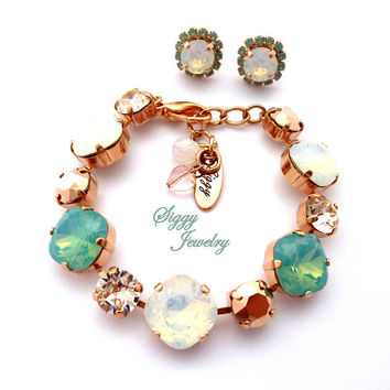 Swarovski Crystal Bracelet, Combined 12mm/8mm Cushion Cut and round, White Opals, Mint Opals, Rose Gold, BRIDESMAID'S SHIMMER, FREE Shipping