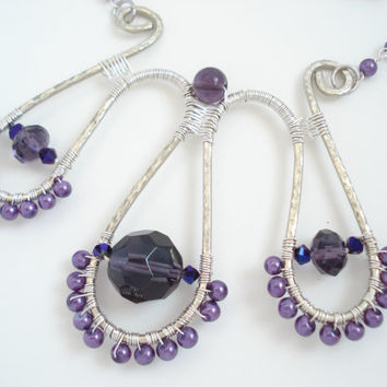 Limited Edition-Handmade Wire Wrapped Necklace-Assemble Earrings-German Silver Wire Handhammered-Amethyst Faceted Beads-Purple Pearls
