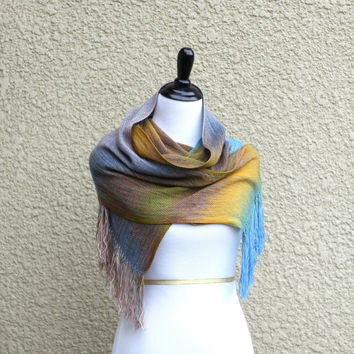 Woven scarf in blue, yellow and beige colors, gift for her