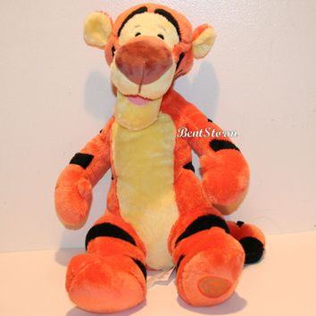 "Licensed cool 14"" Tigger Tiger Plush Winnie-the-POOH Disney Store Authentic Patch New w/ Tags"