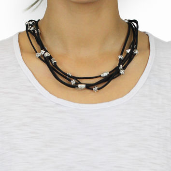 Silver Leatherette Necklace