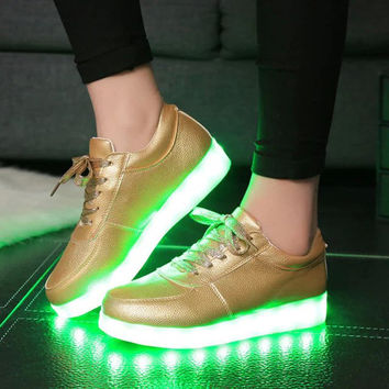 Creative Bright Colorful Winter Stylish Lightning Shoes Round-toe High-top Flats LED Noctilucent Lights [4964958084]
