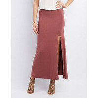 Jersey Knit Slit Maxi Skirt