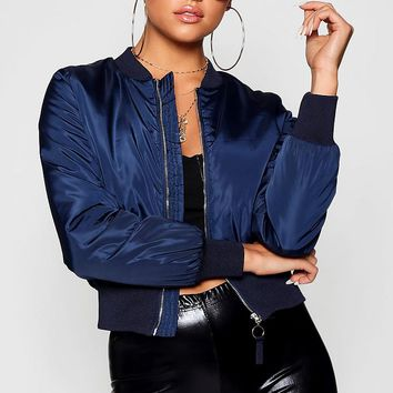 Zip Through Bomber Jacket | Boohoo
