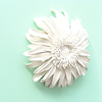 Gerbera Daisy Flower Wall Sculpture - White Gerbera Daisy