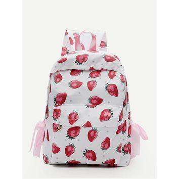 Fruit Print Bow Tie Backpack