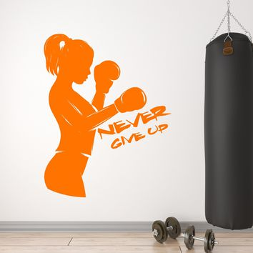 Vinyl Wall Decal Boxer Girl Boxing Gloves Sport Never Give Up Motivation Quote Stickers (2626ig)