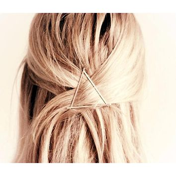Celebrity Trending Gold or Silver Triangle Hair Clip Hairpin Wedding Barrette