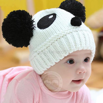 Warm Toddlers Baby Kids Beanie Cap Cartoon Panda Ball Knited Crochet Winter Hat
