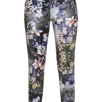 Linnie Khaki Floral Cigarette Trousers - Trousers - PrettylittleThing | PrettyLittleThing.com