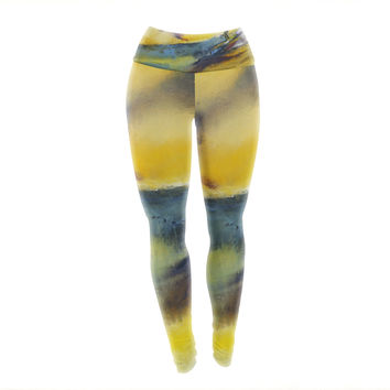 "Josh Serafin ""Sano"" Yellow Surf Yoga Leggings"
