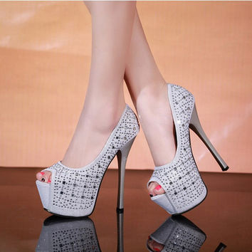 Fish Mouth Nightclub Single Woman Platform Women Shoes Peep Toe High Heels Stilettos Fetish Rhinestone 2016 Thin Heel Sexy