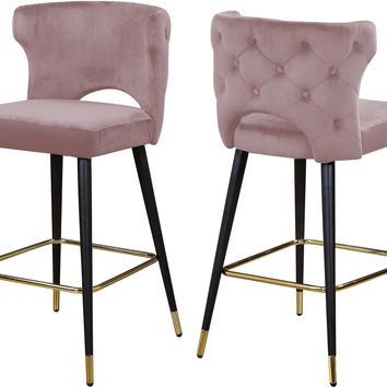 Kelly Pink Velvet Stool (set of 2)