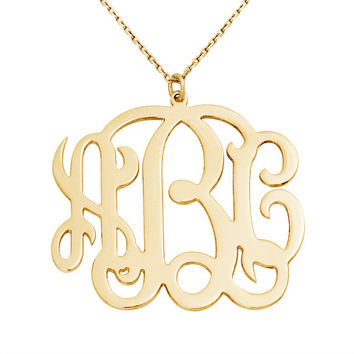 "ON SALE 18k yellow gold plated monogram necklace with 40cm, 45cm, 50cm silver chain options and  0.7mm thickness and 1.3"" inch size"