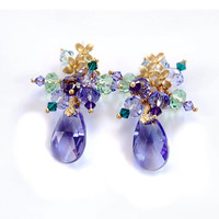 Purple and Green Swarovski crystal pendant dangle earrings Amethyst, Peridot, and Emerald green colors on gold vermeil flower posts