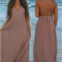 Sunset Dreams Taupe Maxi Dress