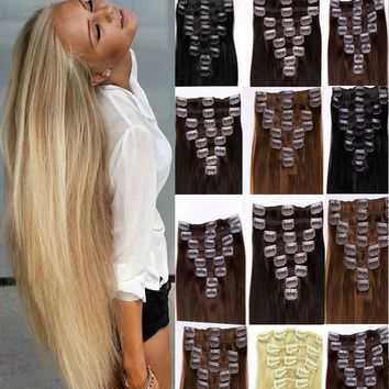 """16""""18""""20""""22"""" 8Pieces Full Head Women Clipin 100% Real Soft Human Hair Extensions"""