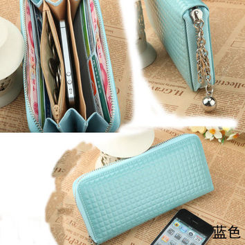 Fashion Women Zip Colorful Clutch Case Lady Wallet For iPhone 5 4S Purse