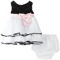Rare Editions Baby Girls Newborn Soutach To Mesh Dress, Black/White, 6  Months