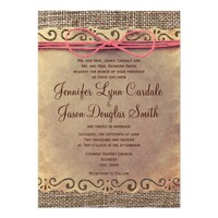 Rustic Vintage Paper Burlap Wedding Invitations