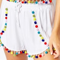 Liquor & Poker Shorts With Multi Coloured Pom Poms