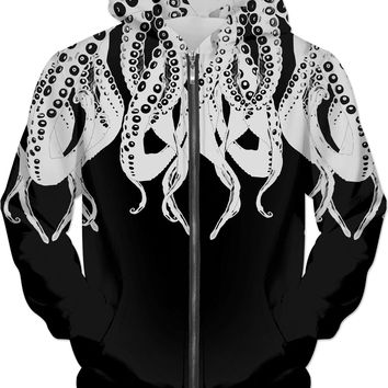 Tentacle monster, octopus, sea creature black and white hoodie design, all-over-print
