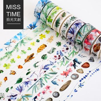 15mm*8m Natural Series Washi Tape Watercolor Plants and Flowers Japansese Stationery Cute Masking Tape DIY Scrapbooking Sticker