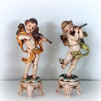 VINTAGE ITALIAN ANGELS - Set of 2 lovely Cherub Figurines - Depose Italy - Religious Prayer Miniature Statues - Makers Mark no. 61 & no. 63