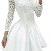 URBANE OUTFITTERS Womens Elegant Long Sleeve Lace Plain Mini Skater Evening Dress White