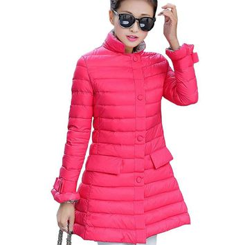 Women Down Jackets 2016 Winter Long Slim Coat For Girls Autumn Parkas Ladies Feather Coats Female Outwear