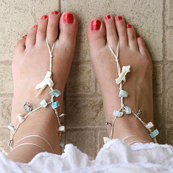 Barefoot Sandals Barefoot Beach Jewellery ,Seashells and Mother of Pearl, Hippie Sandals Foot Jewellery,  Beach wedding barefoot