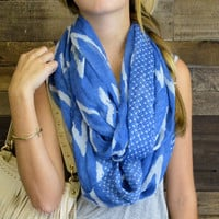 Shivering Waters Royal Blue Chevron Infinity Scarf