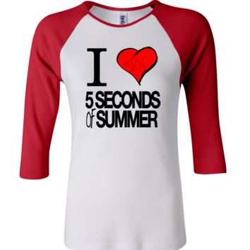 5 Seconds Of Summer I Heart 3/4 Sleeve Baseball Ladies Jersey