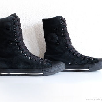 Black suede Converse All Stars, x-hi sneaker boots, lined with tweed, vintage lace up boots. Size 41 (UK 7.5, US women's 9.5, US men's 7.5)
