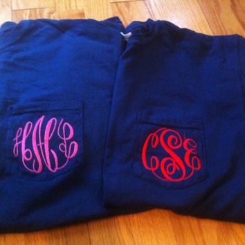 Long Sleeve Monogrammed Comfort Color Pocket by TheInitialedLife