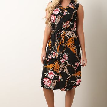 Filigree Floral Print Button-Up Dress
