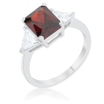 Classic Garnet White Gold Rhodium Engagement Ring