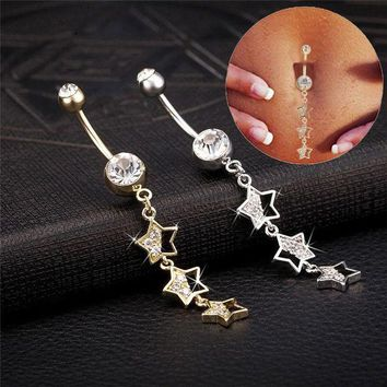 ac PEAPO2Q 2017 Cocktail Party Star Piercing Navel Jewelry Belly Piercing AAA White Rhinestone Gold-Color Belly Button Rings Free Shipping
